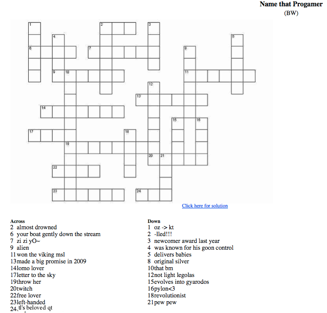 Crossword Puzzle BW Style