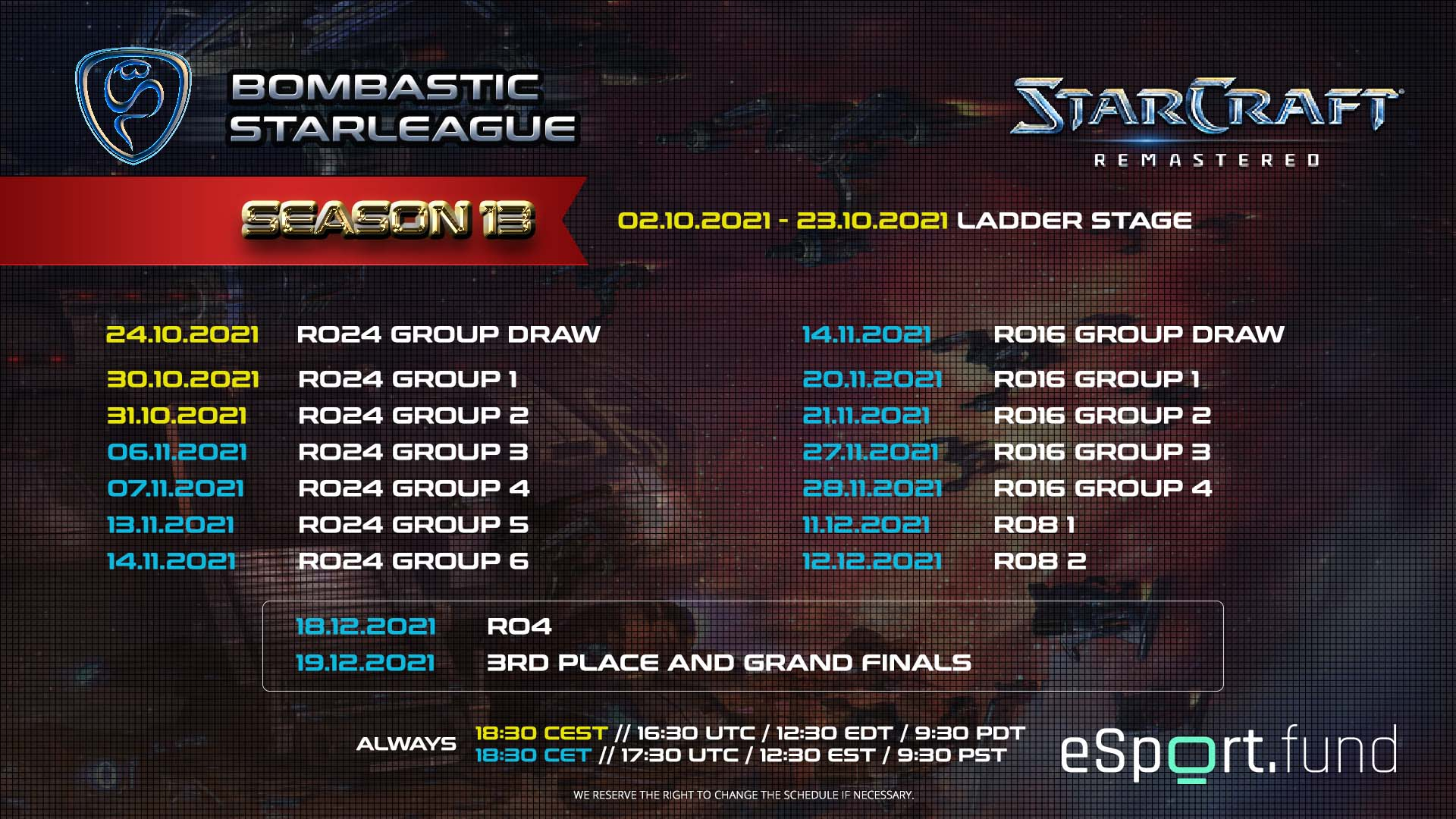 BSL Season 13 Schedule in Details